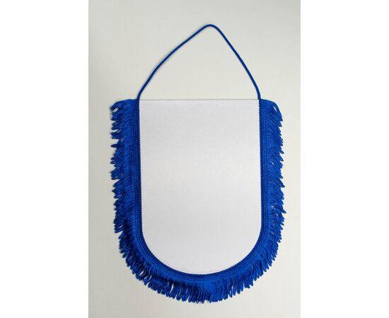 Вымпел под сублимацию М1 синий шнур с бахромой, Формат вымпела: 10 х 15 см, Цвет шнура: Синий