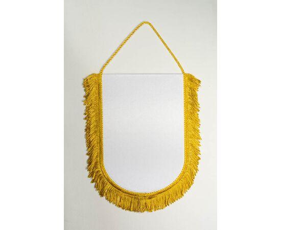 Вымпел под сублимацию М1 золотой шнур с бахромой, Формат вымпела: 10 х 15 см, Цвет шнура: Золото