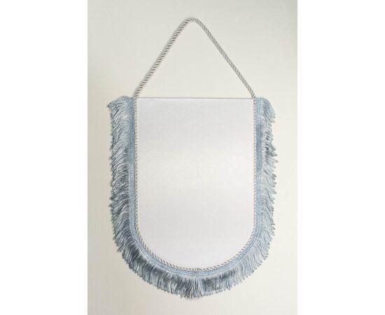 Вымпел под сублимацию М1 серебрянный шнур с бахромой, Формат вымпела: 10 х 15 см, Цвет шнура: Серебро