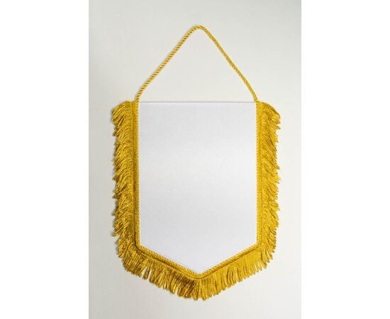 Вымпел под сублимацию М2 золотой шнур с бахромой, Формат вымпела: 10 х 15 см, Цвет шнура: Золото